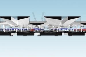 Rautendächer 3-D-Rendering Schnitt