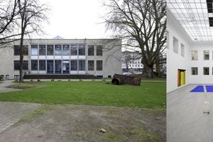 Baukunstarchiv NRW: Parkansicht und Lichthof mit historischer Tageslichtdecke
